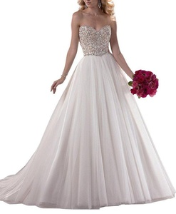 Diandiai Women's Sweetheart Beaded Wedding Dresses Tulle Court Train Bridal Gowns White 24