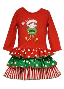 Bonnie Baby Girls Holiday Christmas Elf Tiered Dress (12m-24m) (12 months)