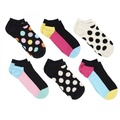 HAPPY SOCKS WOMENS 6 PACK LOW CUTS COMBED COTTON SEAMLESS TOE