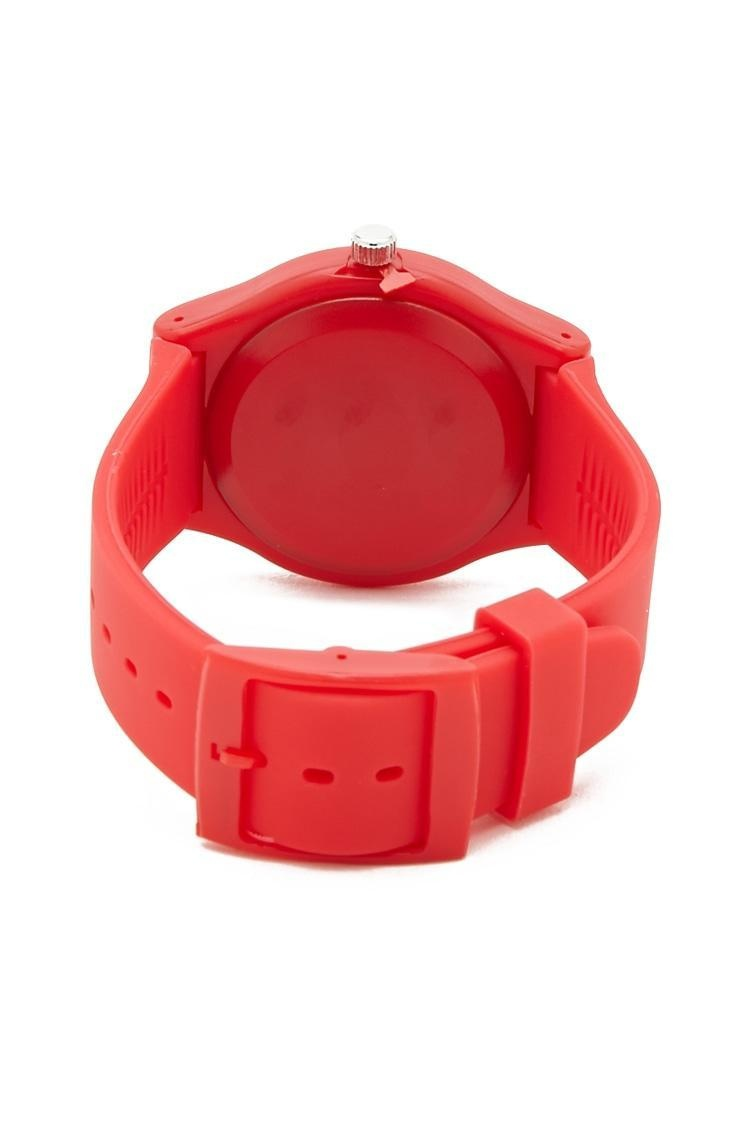 Pizza Graphic Analog Matte Band Watch in Red