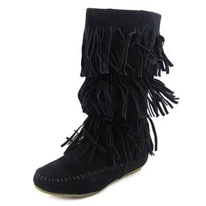 Shoes of Soul Fringe Boot Women US 5 Black Mid Calf Boot