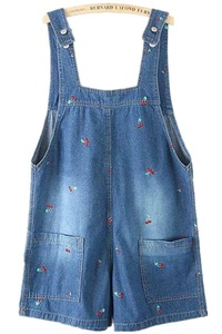 Season Show Womens Juniors Printed Suspender Short Denim Bib Overall M Blue 2