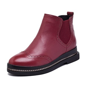 leather boots with/Ji Yinglun wind in autumn and winter shoes-B Foot length=24.3CM(9.6Inch)