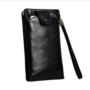 Jack&Rose Men's Wallets Genuine Leather Mens Long Purse Money Clip Card Holder Black
