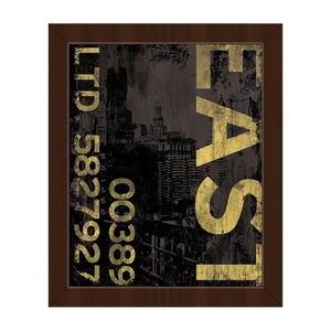East Industry - Yellow: Distressed Vintage Industrial Abstract Downtown City in Black on Brown Wall Art Print on Canvas with Espresso Frame