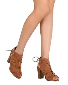 Qupid FE70 Women Faux Suede Peep Toe Lace Wrap Chunky Heel Bootie - Camel (Size: 8.5)