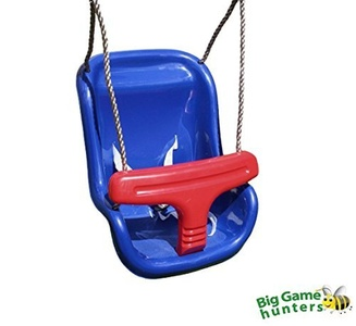 Deluxe Blue & Red Baby Swing Seat - with click-release secure safety system by Big Game Hunters