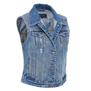 Black Rivet Womens Medium Wash Denim Vest W/ Slight Distressing XL Denim Blue