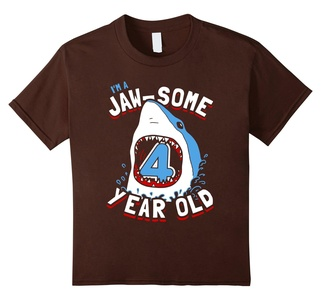Kids 4th Birthday Boys Shark T-Shirt | Jaw-some 4 Year Old 12 Brown