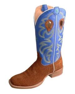 Twisted X Men's Royal Blue Ruff Stock Cowboy Boot Square Toe Cognac 12 D(M) US