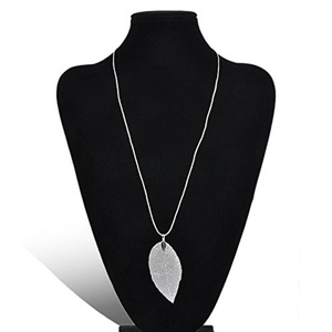 Women Fashion Leaves Jewelry Leaf Pendant Statement Long Chain Sweater Necklace EW (Silver)