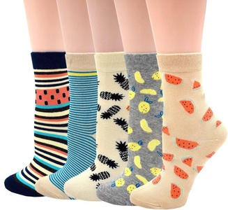 JMEETY Womens 5 Pairs Fashion pattern Cotton Crew Socks