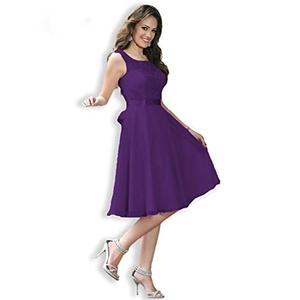 Angel Formal Dresses Women's Scoop V Back Short Chiffon Lace Dress Brdeismaid Dress Prom Dress(18,Purple)
