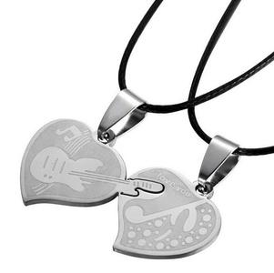 Gudeke Fashion Simple Couple Love Violin Musical Note Necklace Pendants 50cm Chain