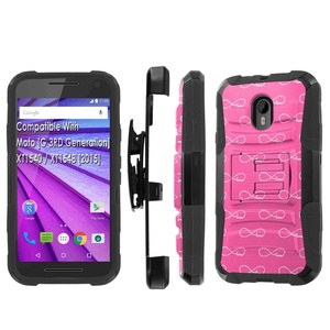 Moto [G] 3RD Generation] [2015] Armor Case [SlickCandy] [Black/Black] Heavy Duty Defender [Holster] - [Love Pink Pattern] for Moto [G] 3RD Generation] XT1540 [2015] XT1548