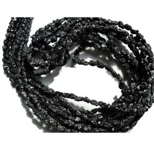 8 Inch Half Strand, Black Raw Rough Diamond Tumbles Beads, Conflict Free Uncut Diamond, 3-4mm Beads