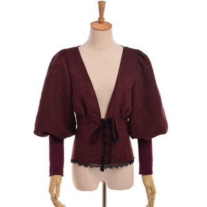 Blessume Steampunk V-neck Top Wine Red