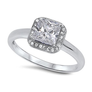 Halo Wedding Engagement Anniversary Ring Princess Cut Square Cubic Zirconia Round CZ 925 Sterling Silver
