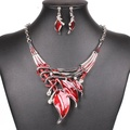 ARICO Red Jewelry Set Statement Necklace Set Enamel Jewelry Earrings Crystal Jewelry Sets Leaves NB130