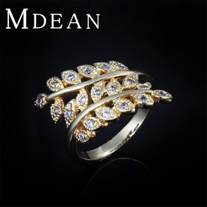 delatcha Jewelry Gold Filled leaf Ring Engagement bague luxury Jewelry zircon finger foliage Ring accessorie