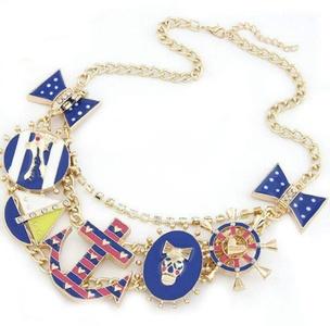 Gudeke Womens Bow Anchor Crocodile Alligator Skull Pattern Necklace Pendant 45cm Chain(Adjustable)