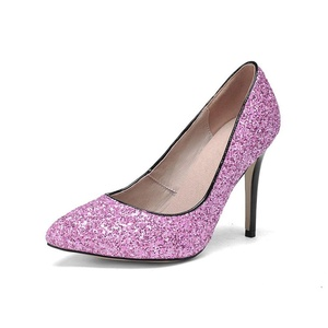 VASHOP Women's Glitter Sequins Pointed Toe High Heels Mary Jane Leather Pumps,Pink/7.5