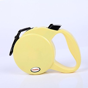 Dog Leash One Button Lock ON/OFF Comfortable Ergonomic Hand Grip Designed Sturdy Nylon Pet Leashes Great for Walking & Running (yellow)