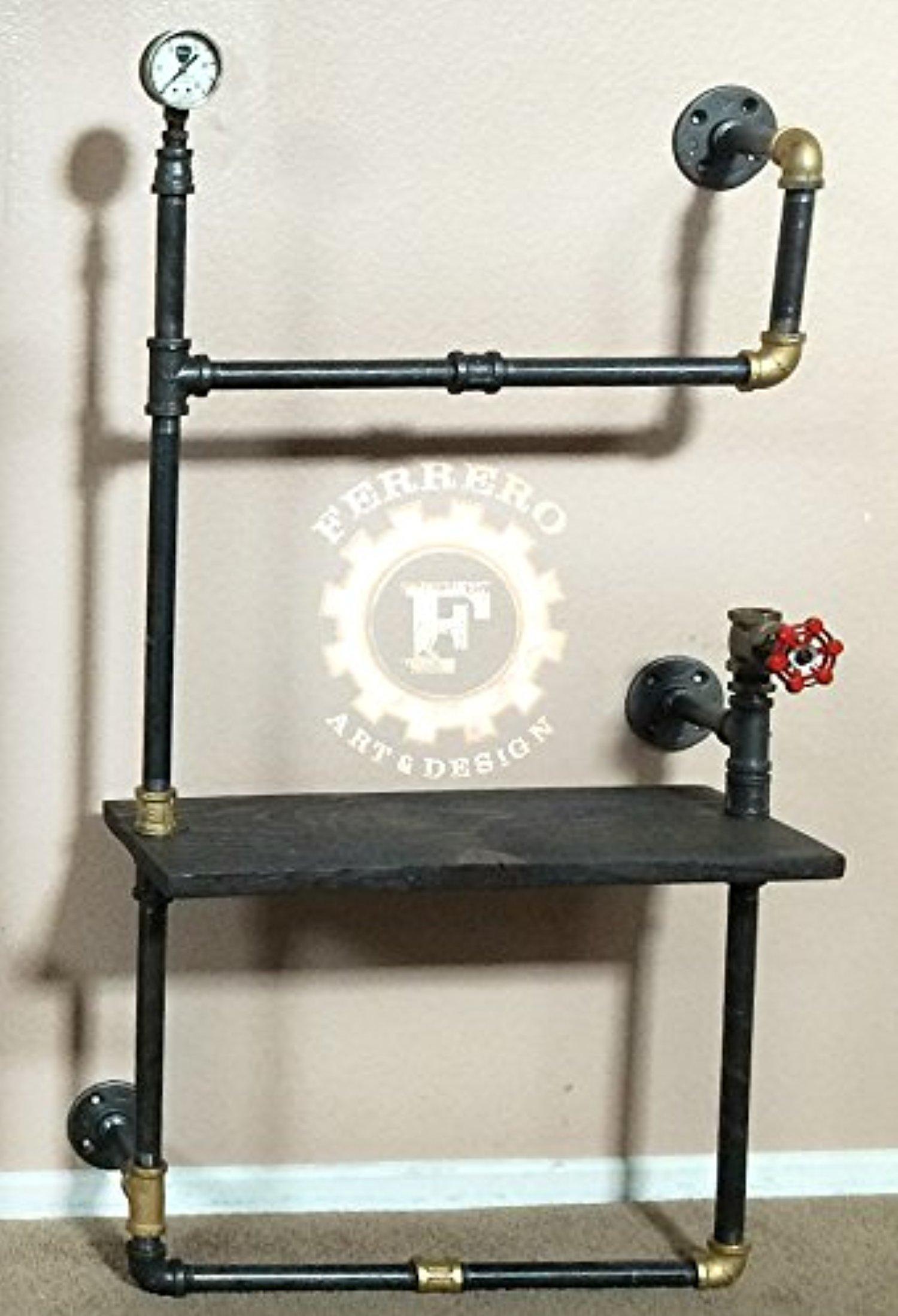 Steampunk Shelf, Unique Wall Decor, Industrial Decor, Pipe Shelf, Wood Shelf, Steampunk Style, Modern Decor, Upcycle Decor