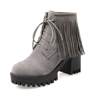 Aisun Women's Unique Fringed Round Toe Platform Lace Up Block High Heels Booties Shoes Gray 4 B(M) US