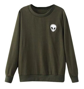 Women's Cute Alien Crewneck Hoodie Sweatshirt Tops Green L