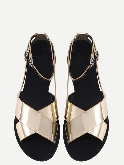 Metallic Crisscross Flat Sandals