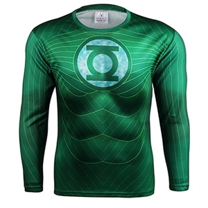 SuperHero Green Lantern Stretch Quick-Dry Sports Long T-Shirt Gym Cycling Jersey (Asian-4XL)