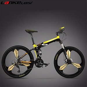 27 Speeds, 26 inches, Magnesium Alloy Rim, Aluminum Alloy Frame, Disc Brake, Folding Mountain Bike, Top Brand Speed Control System. (yellow)