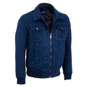 Black Rivet Mens Faux-Suede Bomber Jacket XL Blue