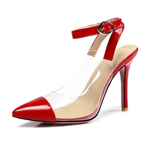 Shoe'N Tale Women Ankle Strap Stiletto Heel Sandals Solid Shoes Pointed Toe Slingback Pumps for Wedding Party Dress (8.5 B(M) US, Ankle Strap Red)