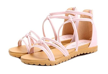 CHFSO Women's Trendy Gladiator Open Toe Ankle High Cross Strap Back Zipper Flat Heel Sandals Pink 4.5 B(M) US