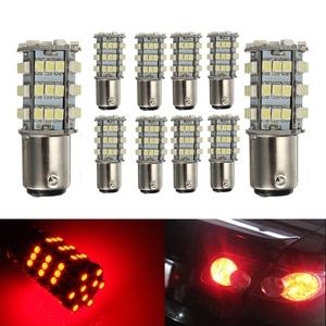 KATUR 10 x Red 1157 S25 BAY15D 1210 54-SMD LED Car Lights Bulb Backup Signal Blinker Tail Light Bulbs 12V Replacement 1016 1034 2057 7528 1157A 1178A LED Light
