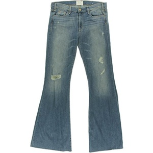 McGuire Denim Womens Majorelle Distressed Unhemmed Flare Jeans Denim 30