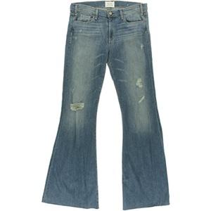 McGuire Denim Womens Majorelle Distressed Unhemmed Flare Jeans Denim 30