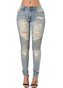 Women's Destroyed Frayed Slim Fit Fashionable Skinny Jeans Grey Plus Size M