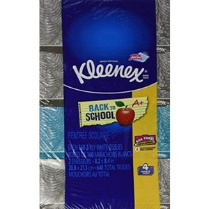 Kleenex White Facial Tissue Paper ,Contains 160 tissues per box 2-ply Box, 4 Pack