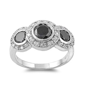 Halo Designer Look 3 Stone Engagement Halo Ring Round Black CZ and Cubic Zirconia 925 Sterling Silver