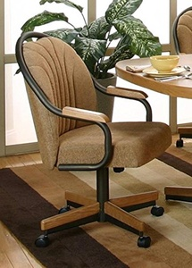 Casual Swivel Tilt Rolling Caster Dining Arm Chair (1 Chair) (Espresso / Harvest)