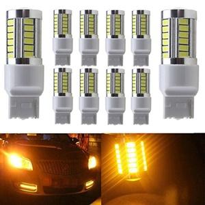 KATUR 10pcs 7440 7440NA 7441 992 5630 33-SMD Amber 900 Lumens 8000K Super Bright LED Turn Tail Brake Stop Signal Light Lamp Bulb 12V 3.6W
