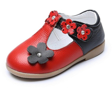 Bumud Little Girl Ballet Mary Jane Flat Shoe with Flower Decor (8 M US Toddler, Red)