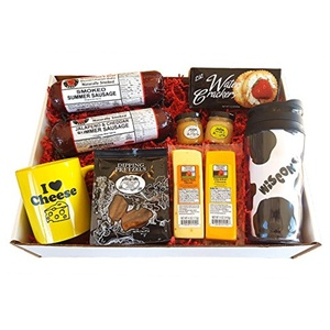 WISCONSIN'S BEST and WISCONSIN CHEESE COMPANY - DELUXE WI CHEESE Gift Basket - features Smoked Summer Sausages, 100% Wisconsin Cheeses, Crackers, Pretzels & Mustard | Great for tailgating!