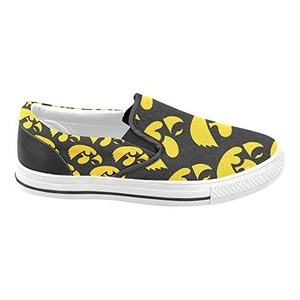 Thelma NCAA Iowa Hawkeyes Men's Slip-on Casual Loafers Canvas Shoes,White C