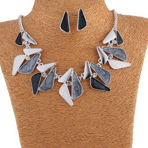 ARICO Enamel Jewelry Sets Blue Crystal Jewelry Set Geometric Necklace Set and Earrings Silver Plated NE344