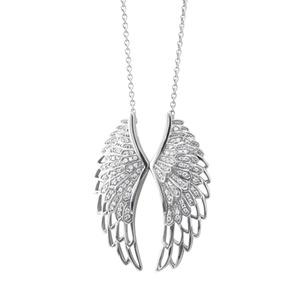 IGI Certified 14K White Gold Angel Feather Wing White Diamond Pendant Necklace (0.45 Carat)