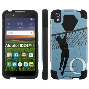 Alcatel One Touch IDOL 4 [Nitro 4/49] Phone Cover, Volleyball Monogram Q - Black Hexo Hybrid Armor Phone Case for Alcatel One Touch IDOL 4 [Nitro 4/49]